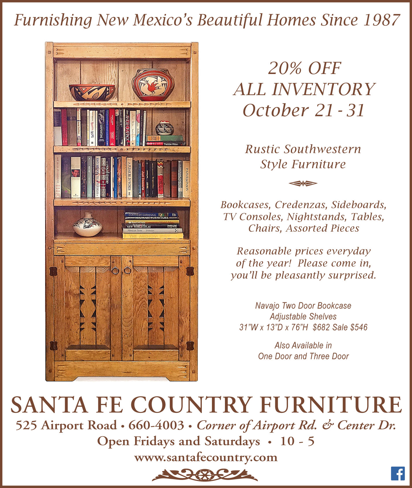 Santa Fe Country Furniture Home : adnavbookcasesale102016 from www.santafecountry.com size 1425 x 1688 jpeg 481kB
